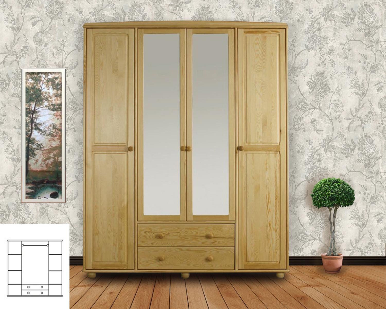 """Шкаф четырёхстворчатый распашной с зеркалом и выдвижными ящиками """"Витязь-119"""""""