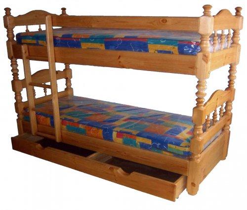 Детская двухъярусная кровать с выдвижным ящиком