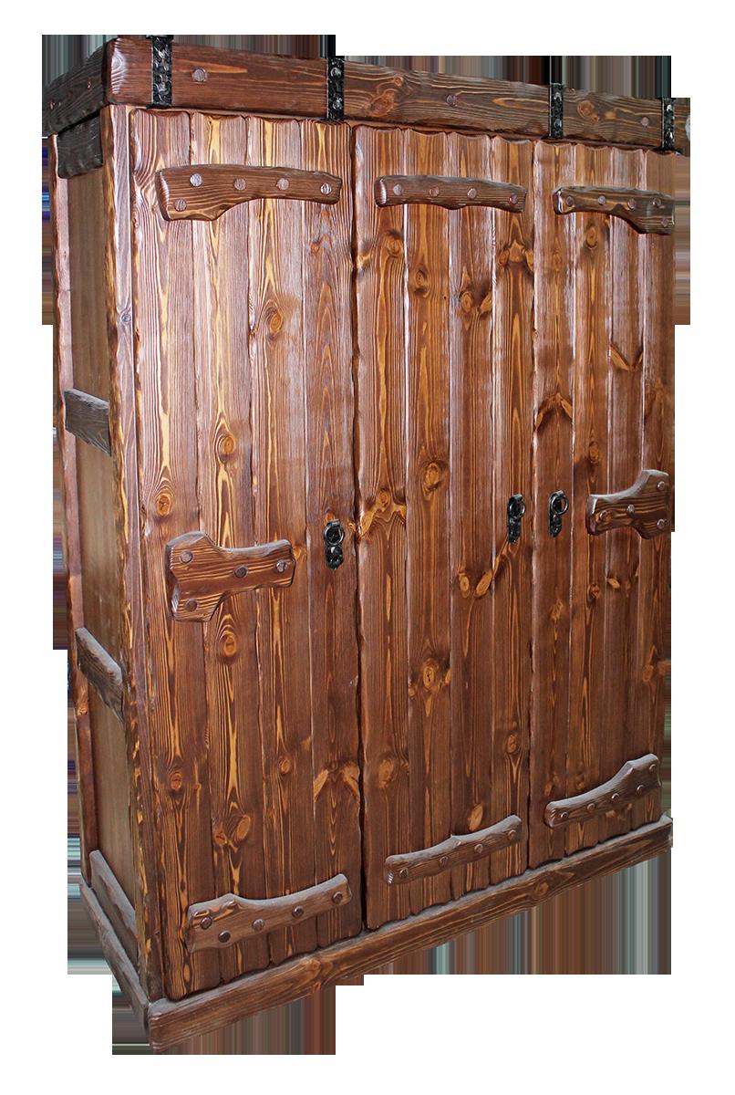 Шкаф бельевой под старину из сосны с элементами ковки.