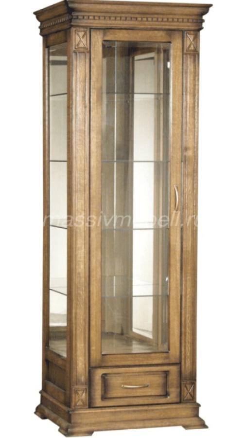 Шкаф пенал со стеклянными полками и дверкой