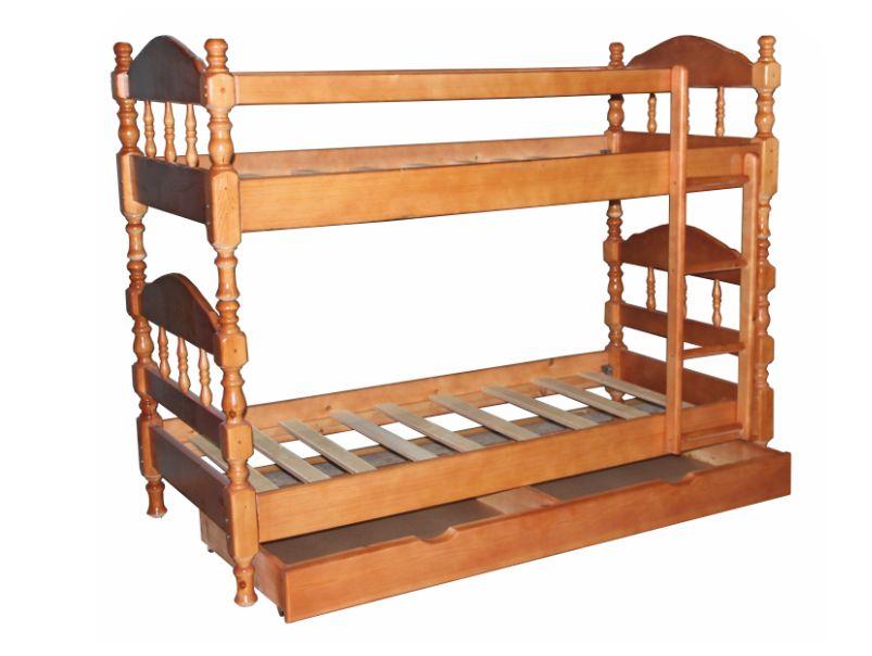 """Двухъярусная кровать """"Точёнка"""" из массива сосны"""