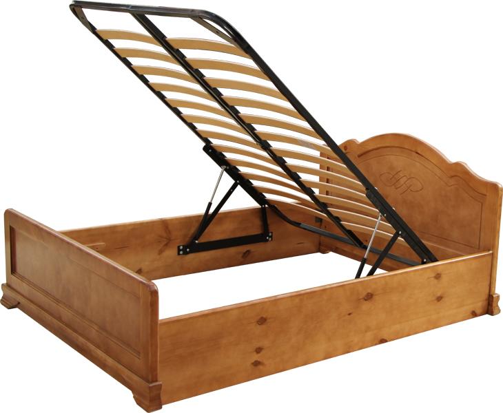 Кровать из массива с подъумным механизмом.