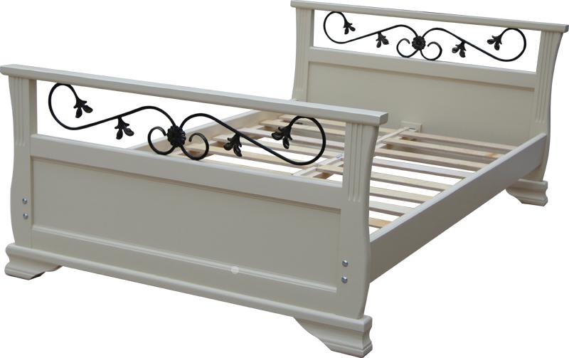 Кровать из массива белая краска с ковкой.