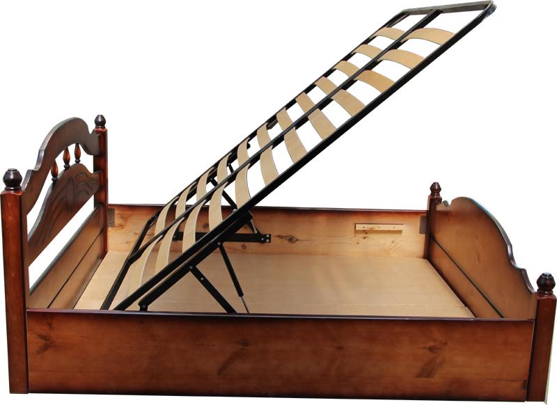 """Кровать из массива """"Солнце"""" с подъёмным механизмом."""