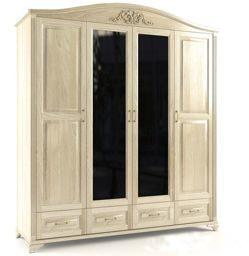 Шкаф четырёхстворчатый ящиками и зеркалом