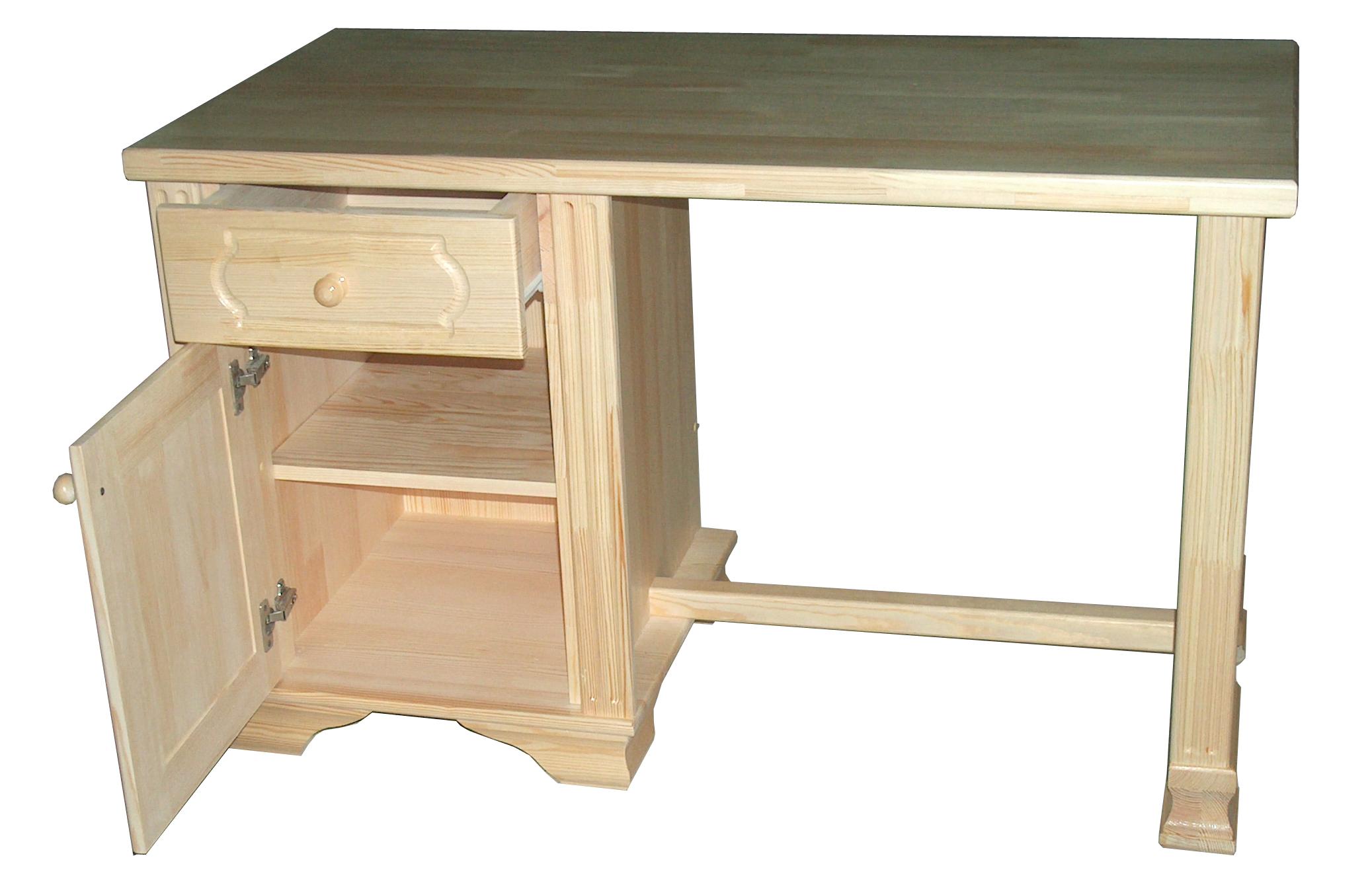 Письменный стол с одной тумбой из массива дерева.